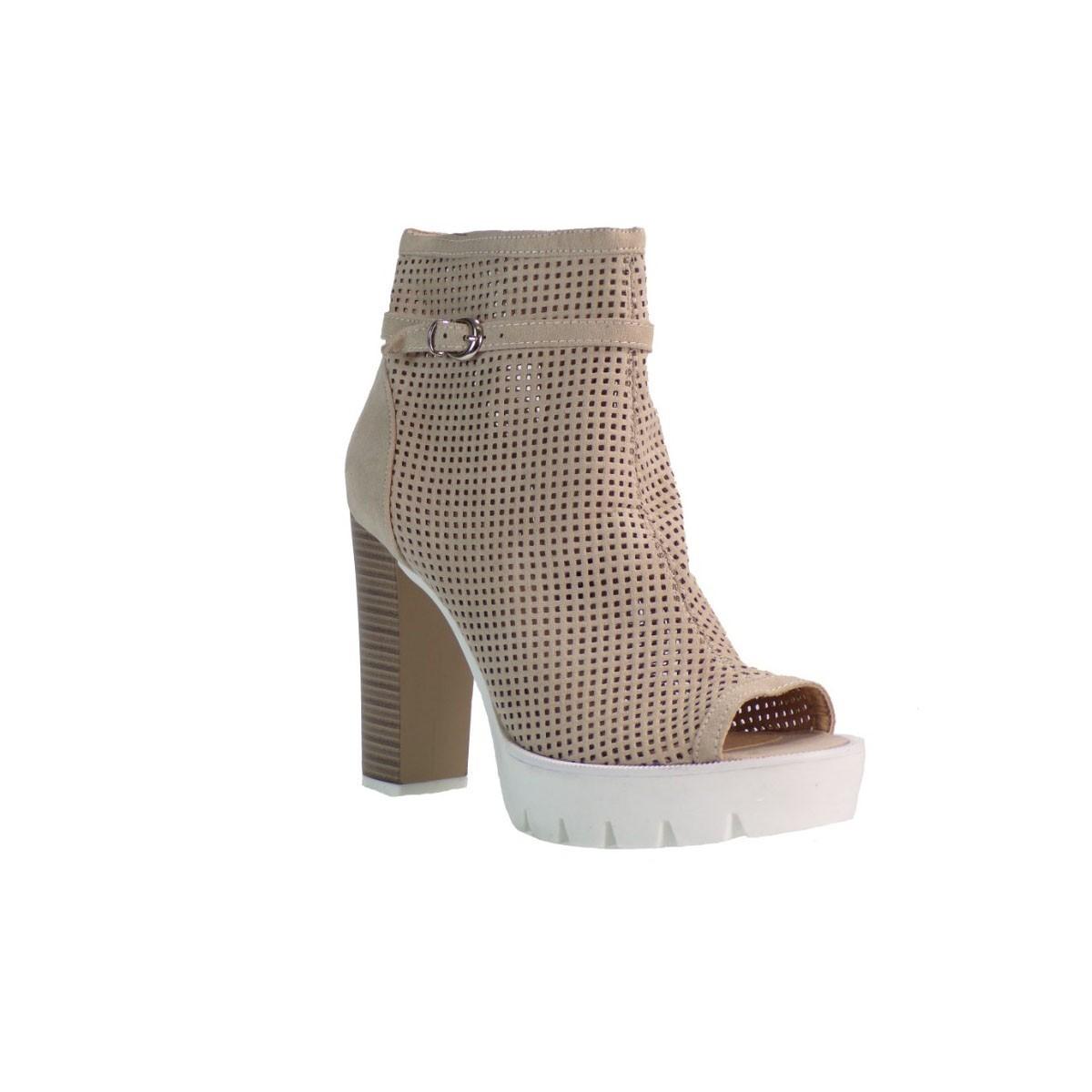Fashion Icon Γυναικεία Παπούτσια Μποτάκια F16-05076 Μπεζ Καστόρι Fashion icon f16-05076 Mπεζ