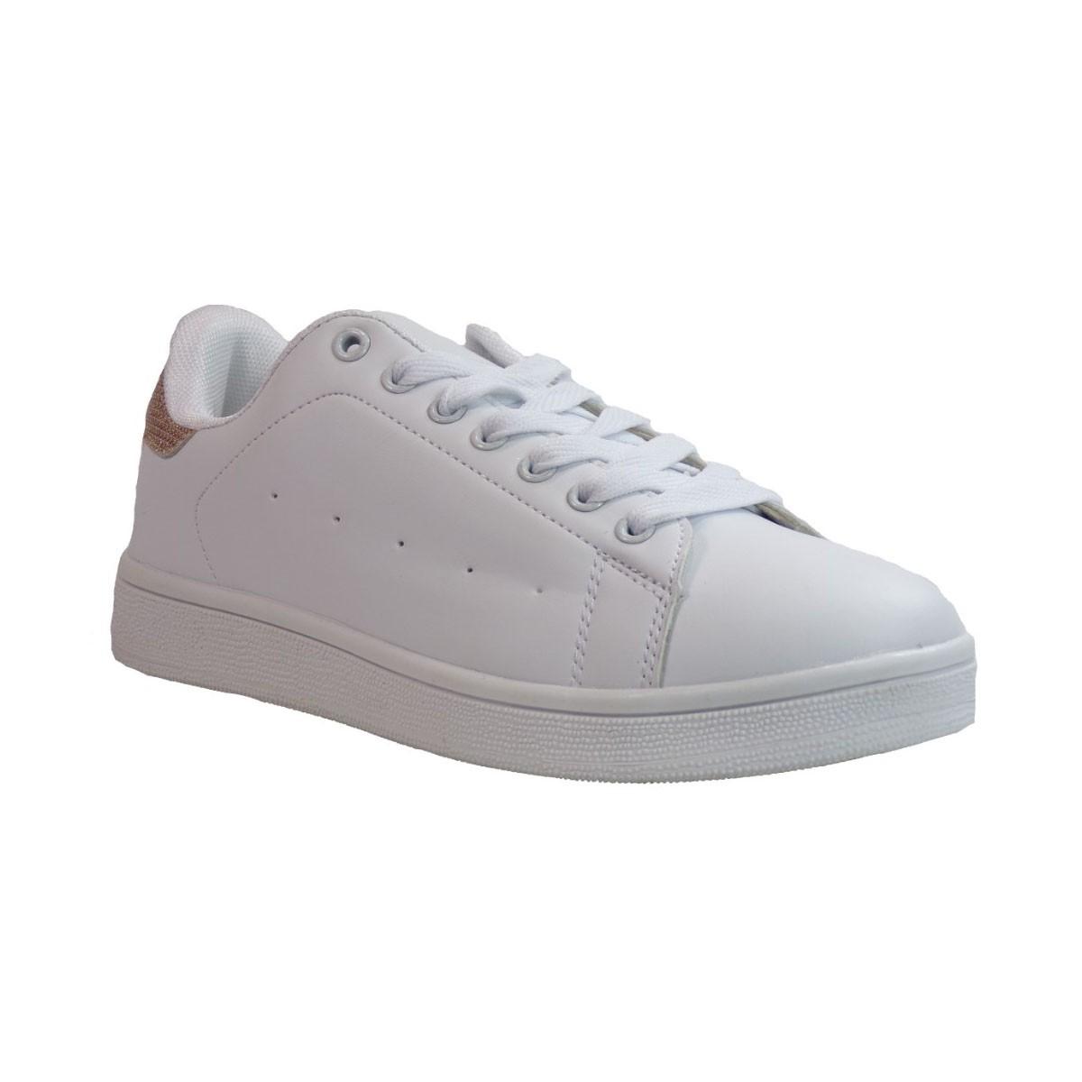 Bagiota shoes Sneakers Παπούτσια Γυναικεία B2588-7 Άσπρο Χρυσό Bagiota shoes B2588-7 Άσπρο