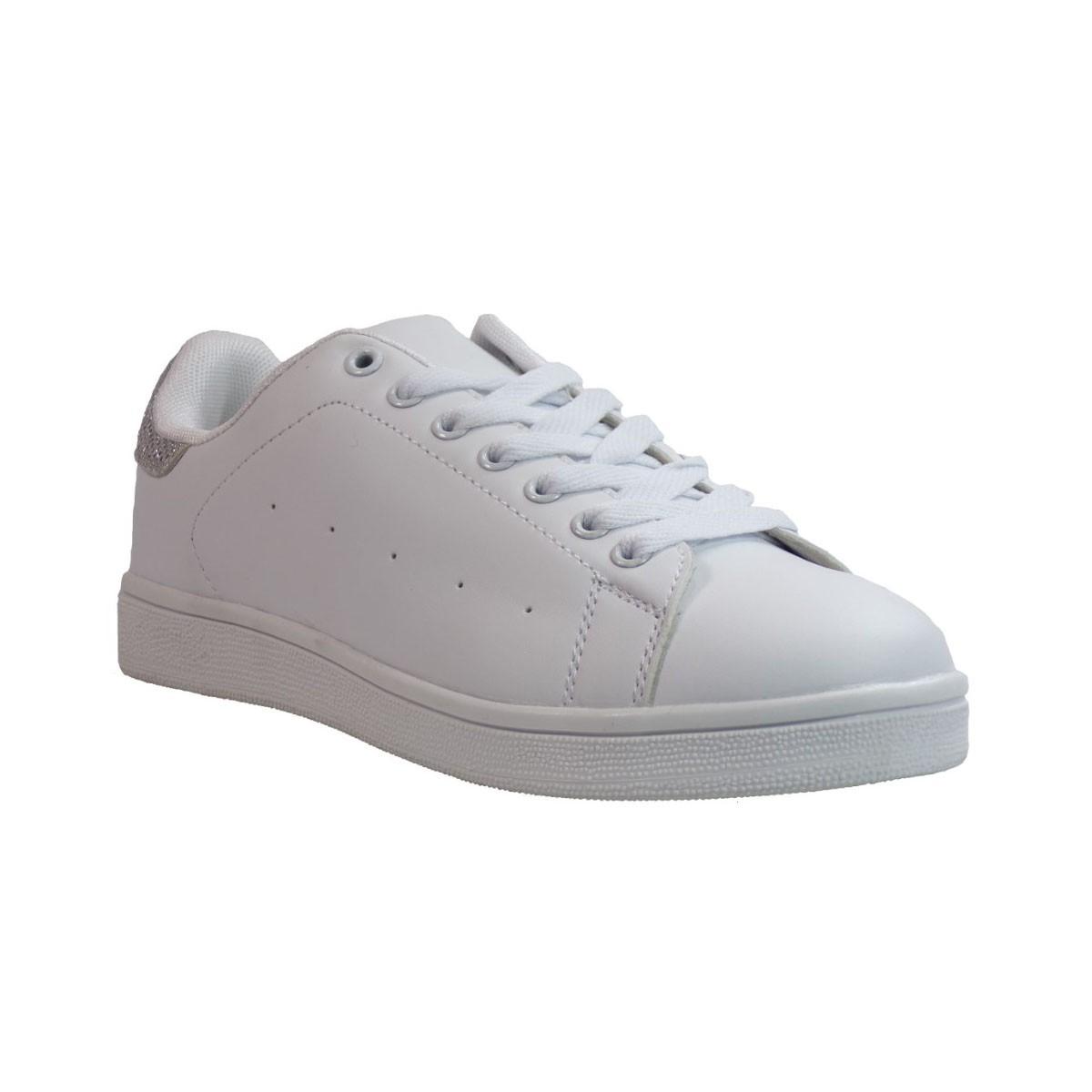 Bagiota shoes Sneakers Παπούτσια Γυναικεία B2588-8 Άσπρο Ασημί Bagiota shoes B2588-8 Άσπρο