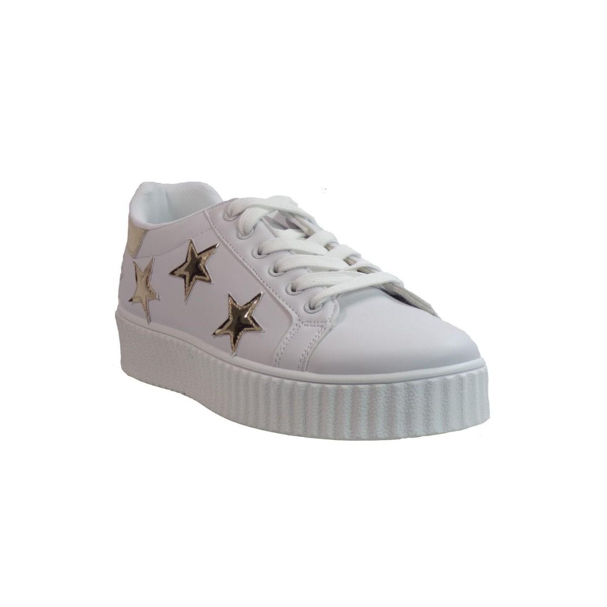 Bagiota shoes Sneakers Παπούτσια Γυναικεία QQ135 Άσπρο Χρυσό Bagiota shoes QQ135 Άσπρο Χρυσό