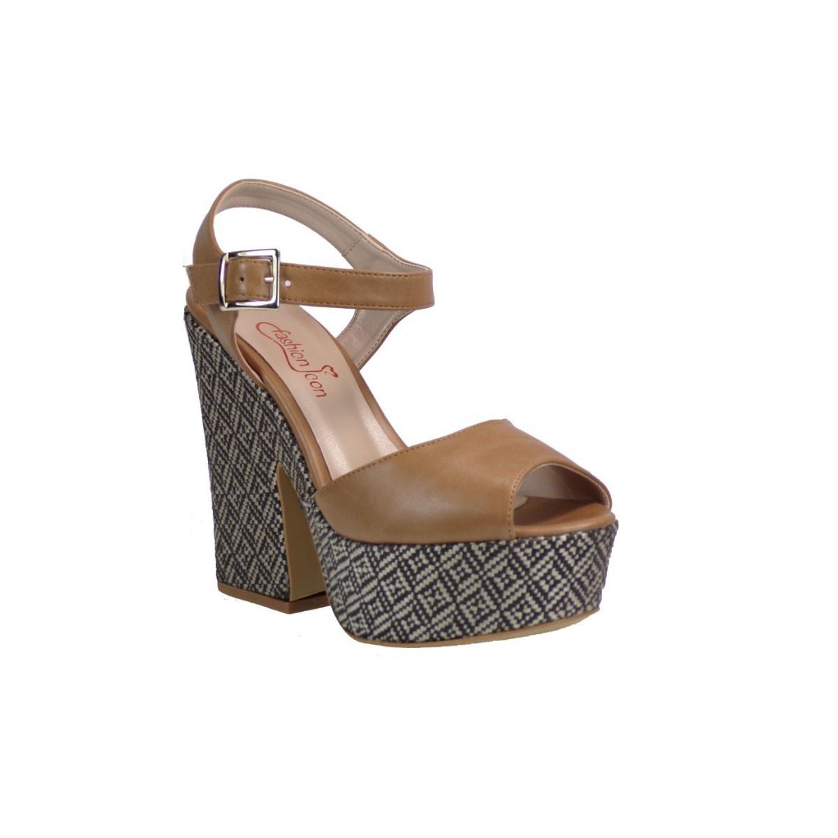 Fashion Icon Γυναικεία Παπούτσια Πέδιλα F09-05653 Κάμελ Fashio icon F09-05653 Κάμελ