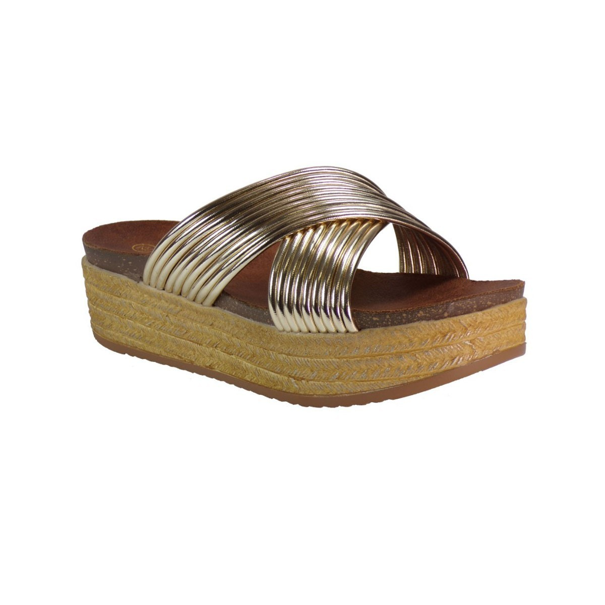 Envie Shoes Γυναικείες Παντόφλες Πλατφόρμες E64-05039 Χρυσό envie E64-05039 Χρυσό