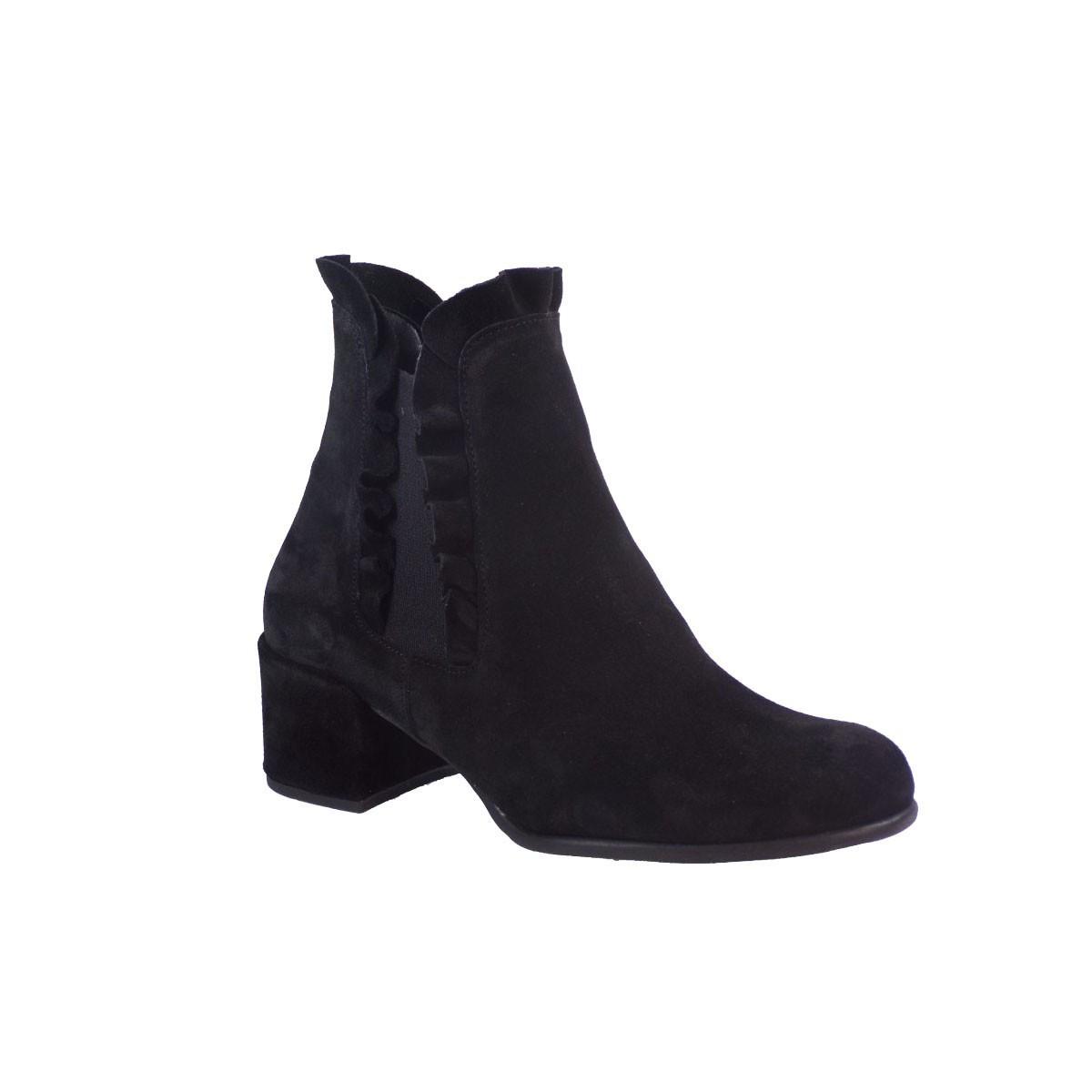 SMART CRONOS Γυναικεία Παπούτσια Mποτάκια 6679/3602 Μαύρο Δέρμα Καστόρι