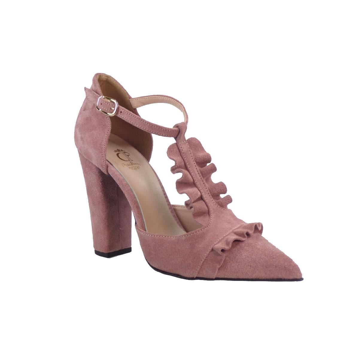 SMART CRONOS Γυναικεία Παπούτσια Γόβες 6709/1787 Πούδρα Δέρμα Καστόρι