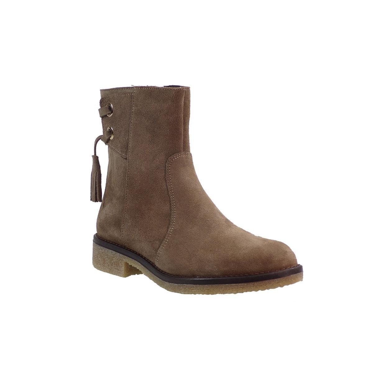 Envie Shoes Γυναικεία Παπούτσια Μποτάκια E02-06322 Πούρο Δέρμα Καστόρι