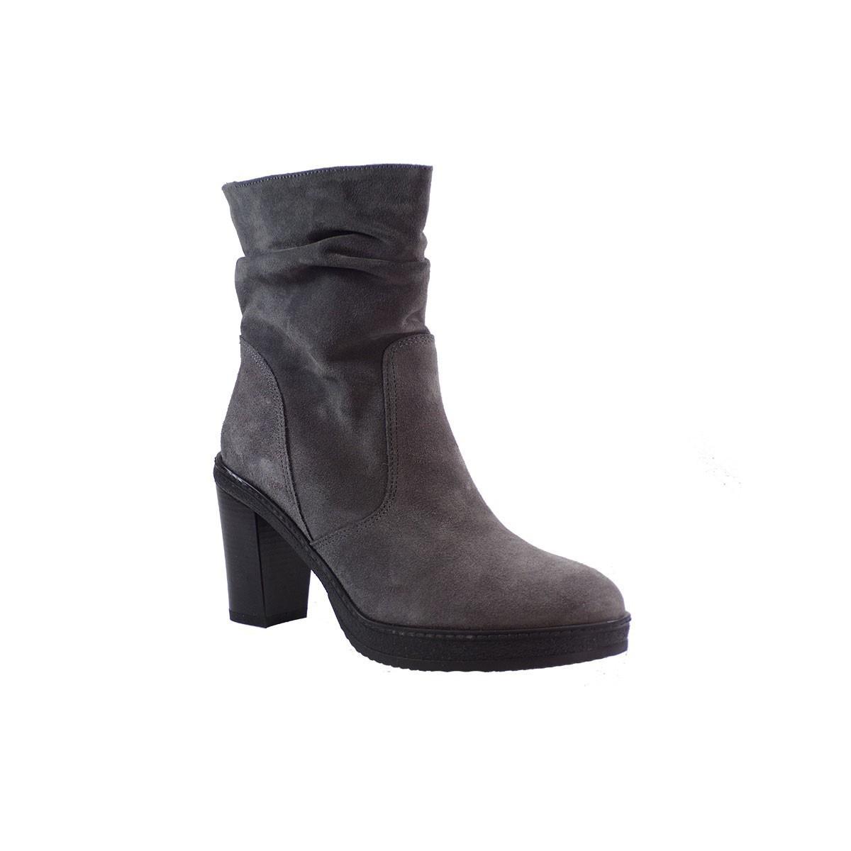 Envie Shoes Γυναικεία Παπούτσια Μποτάκια Ε02-6340 Γκρι Δέρμα Καστόρι