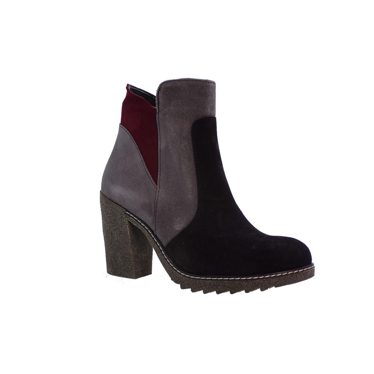SMART CRONOS Γυναικεία Παπούτσια Mποτάκια 6695/GARD Μαύρο-Γκρί Δέρμα Καστόρι