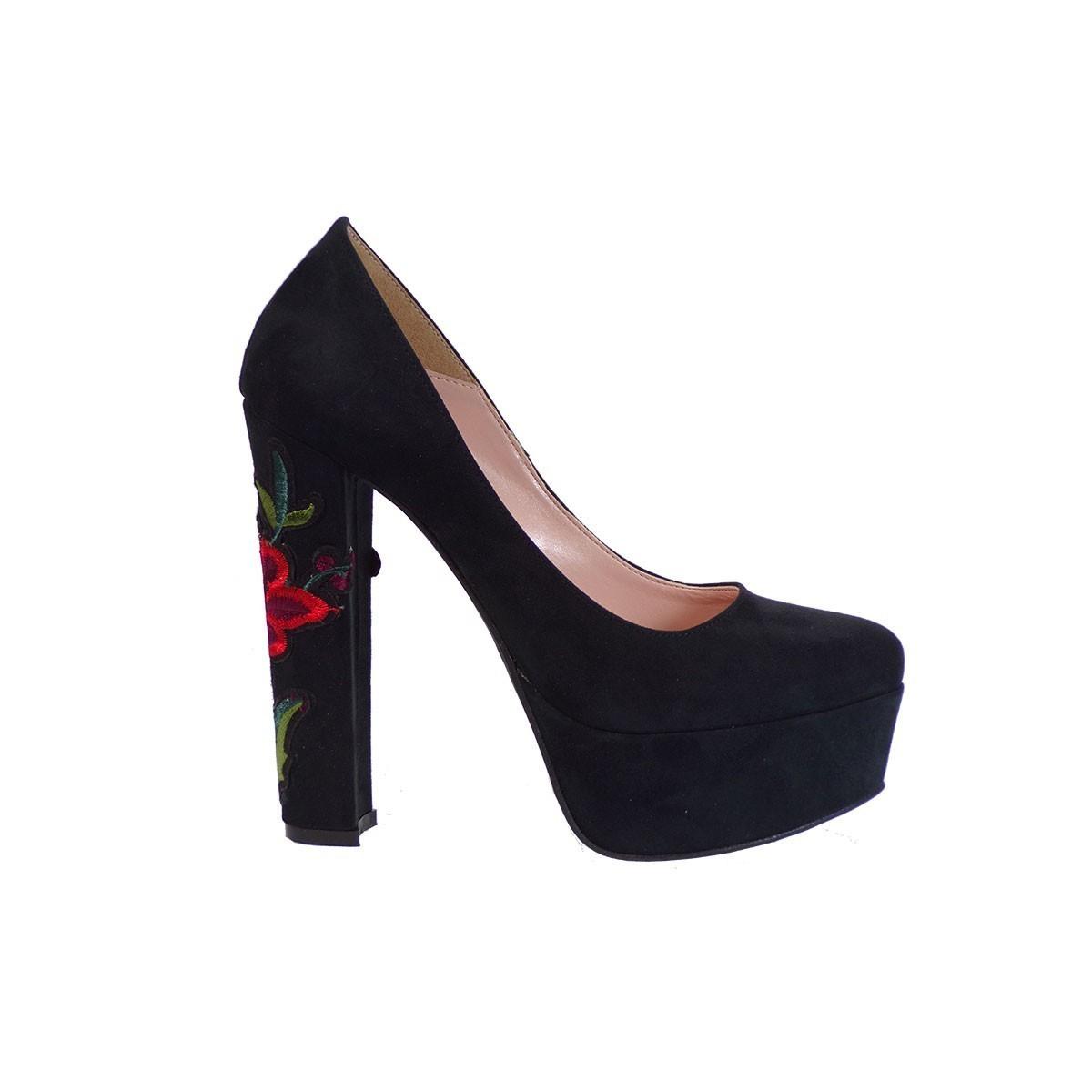 Alessandra Paggioti Γυναικεία Παπούτσια Γόβες 78001 Λουλούδι Μαύρο Καστόρι