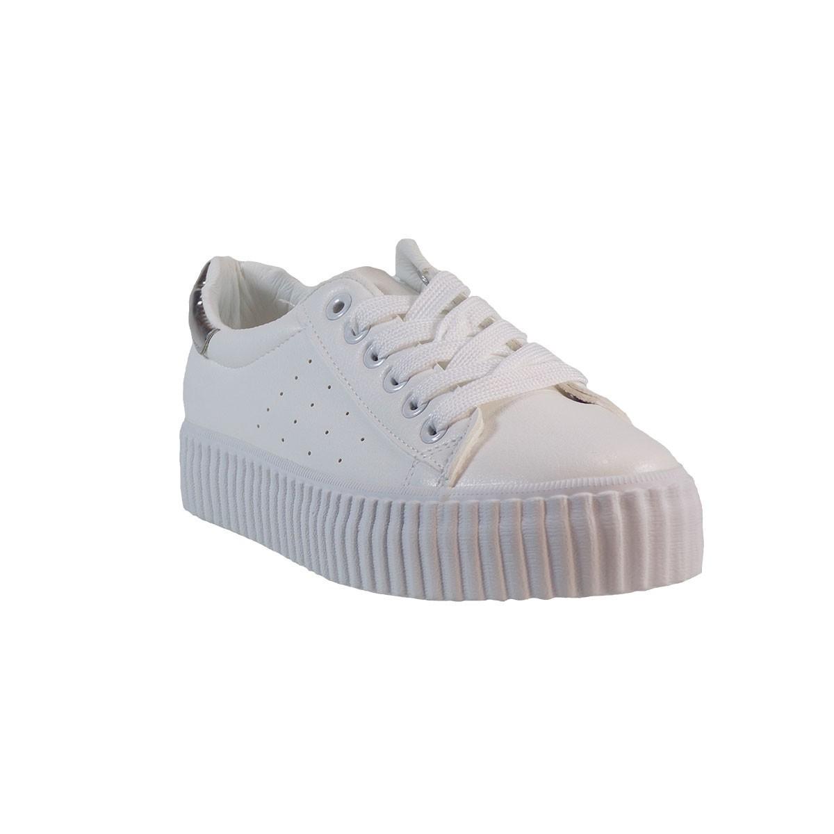 Bagiota Shoes Γυναικεία Παπούτσια Sneakers 3909-2 Άσπρο-Ασημί