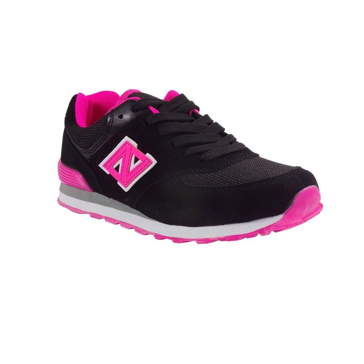 Bagiota Shoes Γυναικεία Παπούτσια Sneakers Αθλητικά L-574-4 Mαύρο-Ροζ