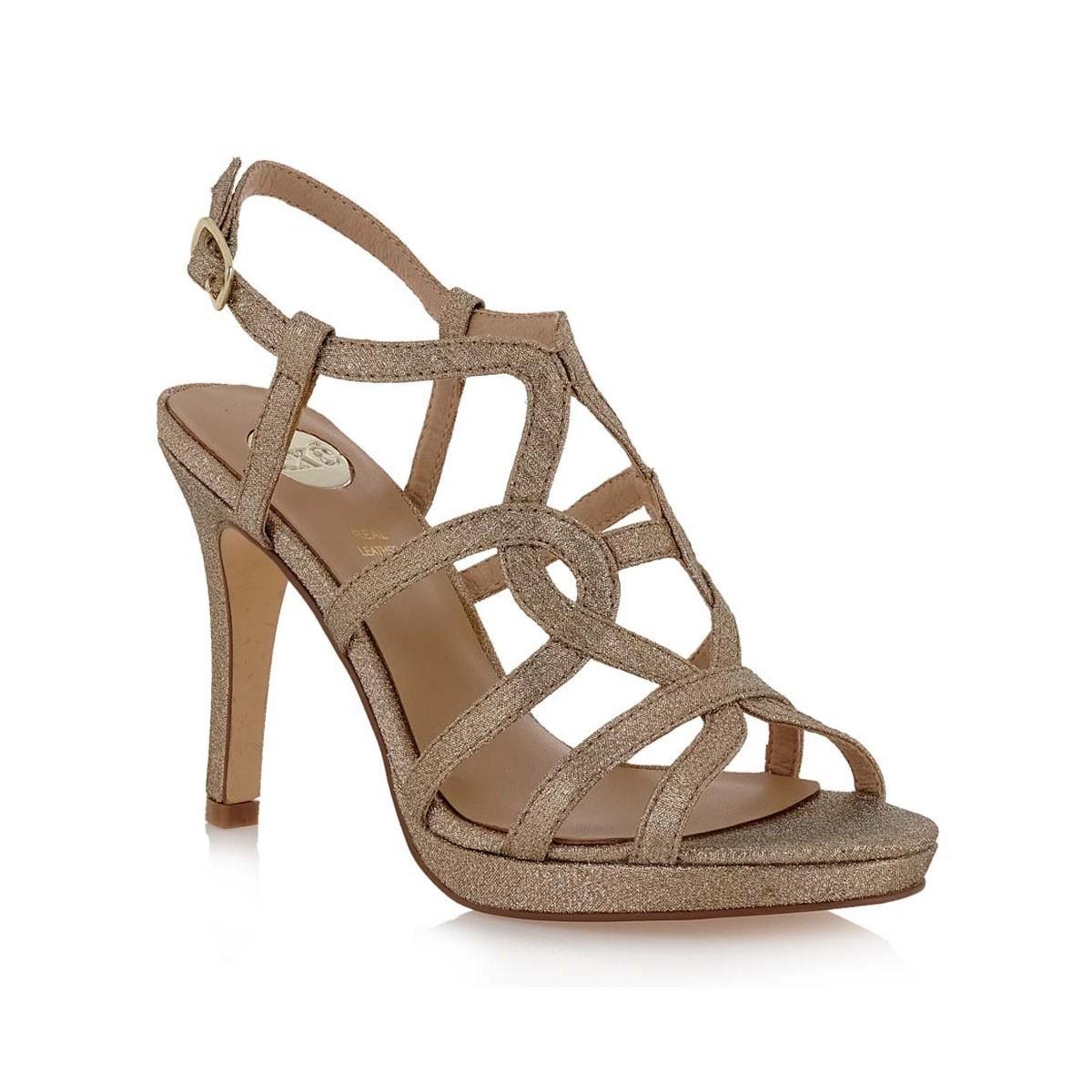 7f68e26e9a2 EXE Shoes Πέδιλα Γυναικεία KIMBERLY-646 Πλατίνα Glitter G4700646656S ...