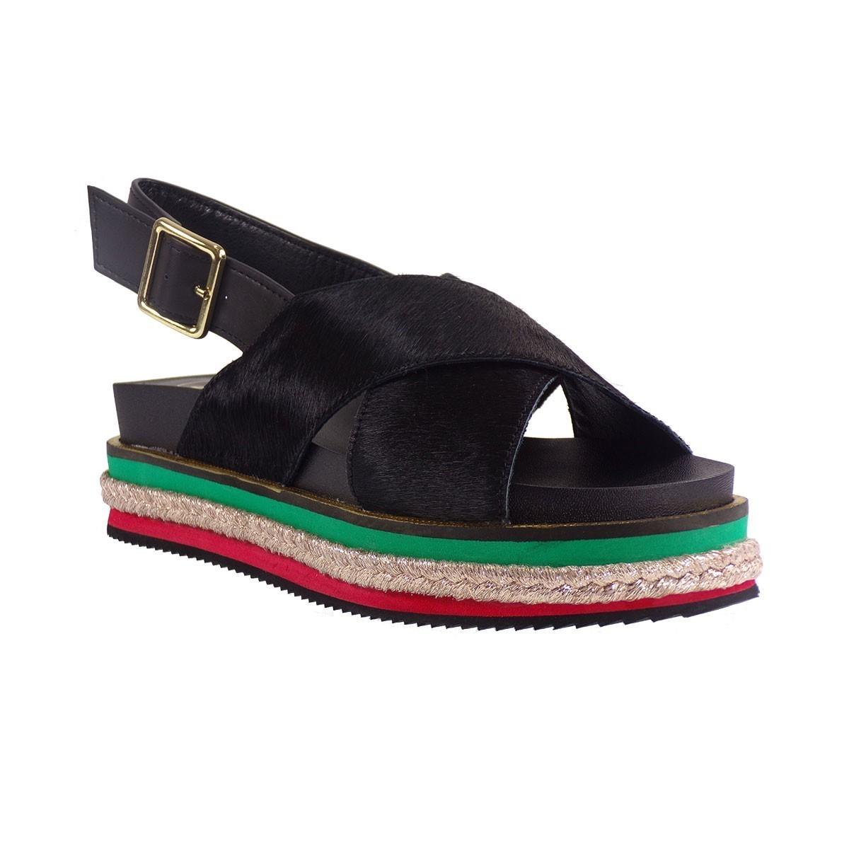 d2768154ccf EXE Shoes Γυναικεία Πέδιλα Πλατφόρμες GARLA-522 Μαύρο Πόνυ ...