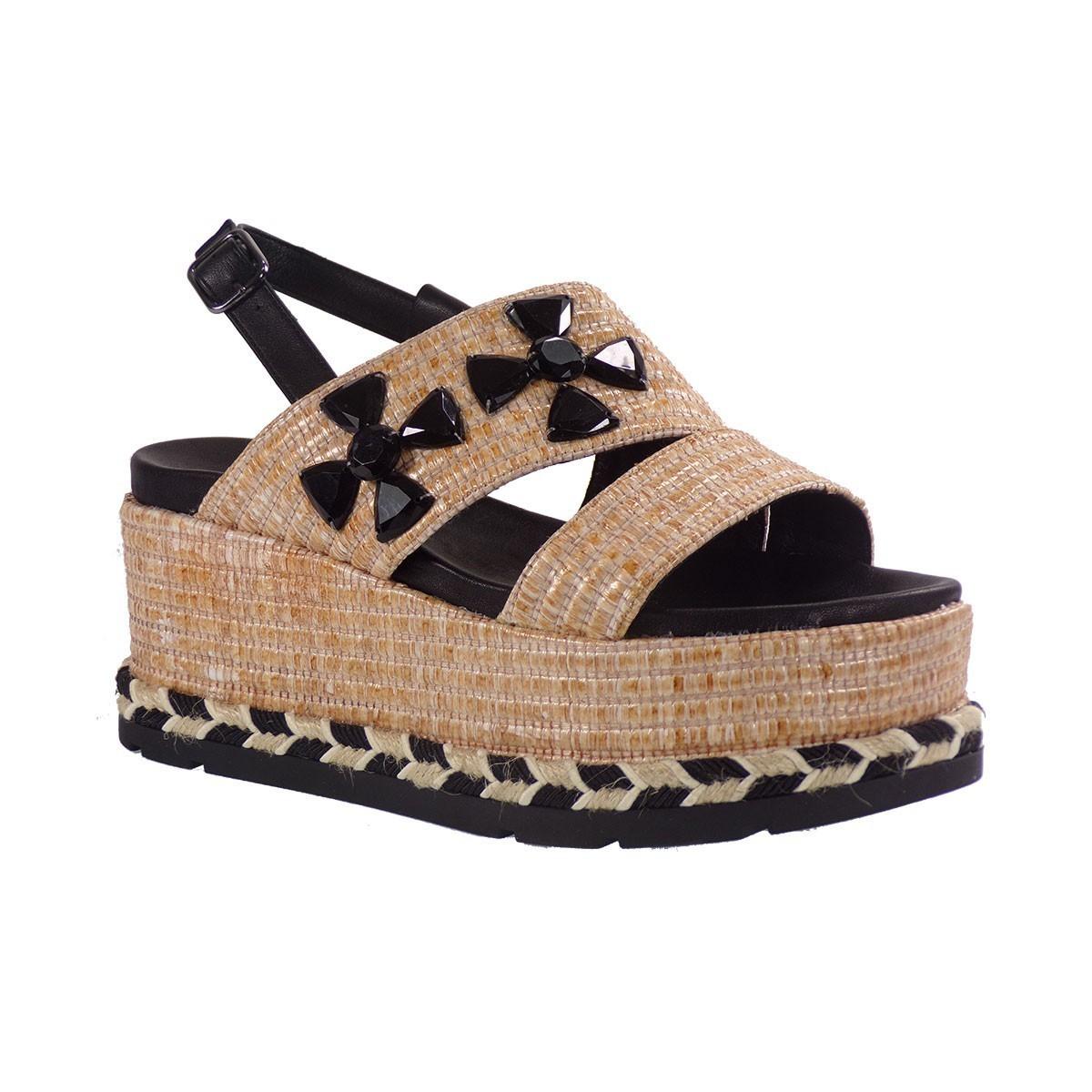 EXE Shoes Γυναικεία Πέδιλα Πλατφόρμες SINEA-704 Nude-Μαύρο G4700704