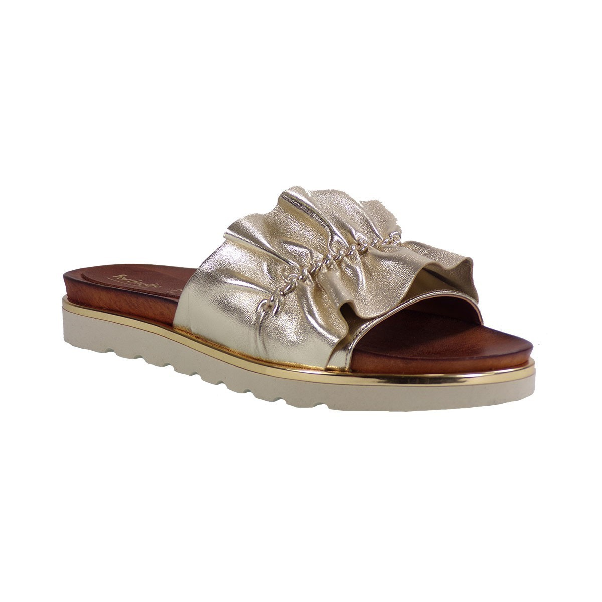 Fardoulis Shoes Γυναικεία Παντόφλα 35091 Πλατίνα Δέρμα
