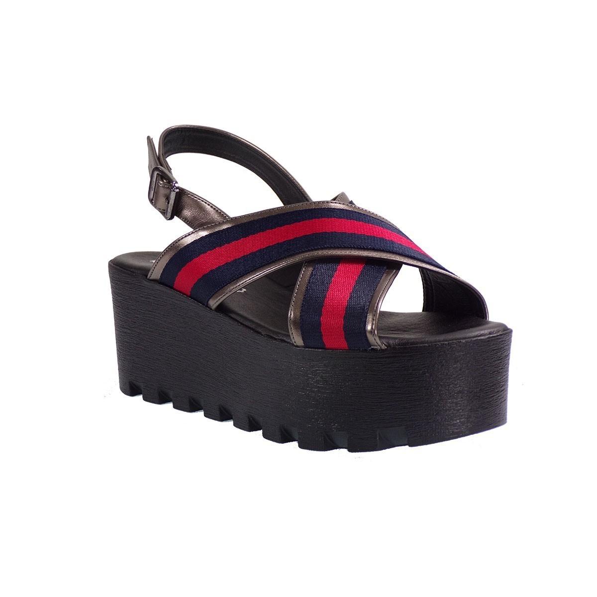 Katia Shoes Γυναικείες Πλατφόρμες Πέδιλα 135/2080 Ατσαλί-Μπλέ
