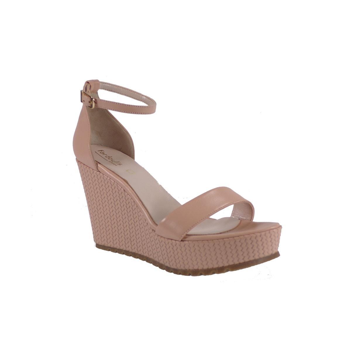 Fardoulis shoes Γυναικείες Πλατφόρμες Πέδιλα 26077 Nude Δέρμα