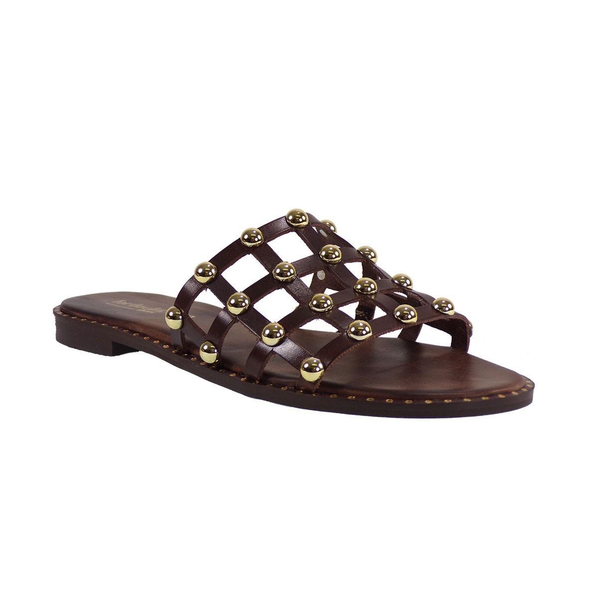 Fardoulis shoes Γυναικείες Παντόφλες 47182 Καφέ Δέρμα