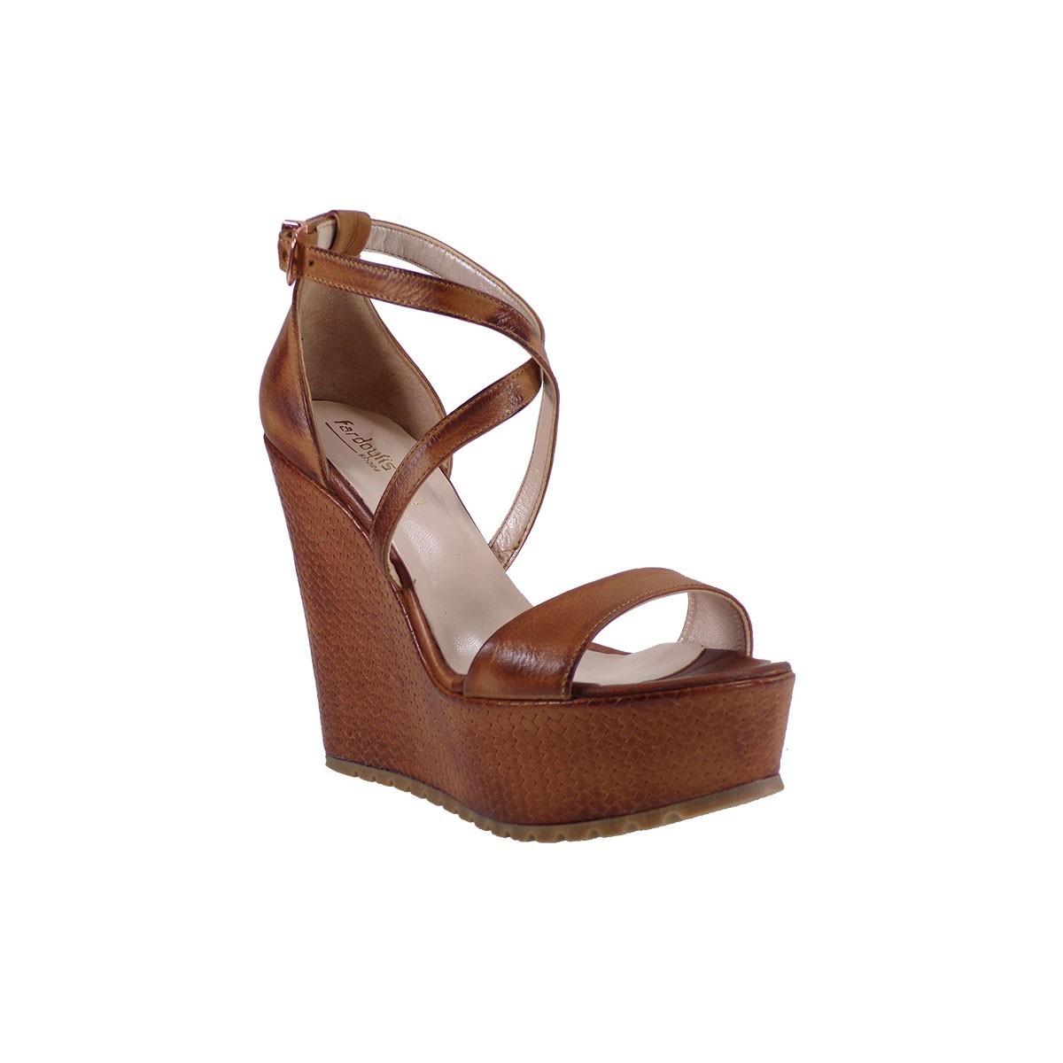 6399e8dfed4 Fardoulis shoes Γυναικείες Πλατφόρμες Πέδιλα 27171 Ταμπά Δέρμα
