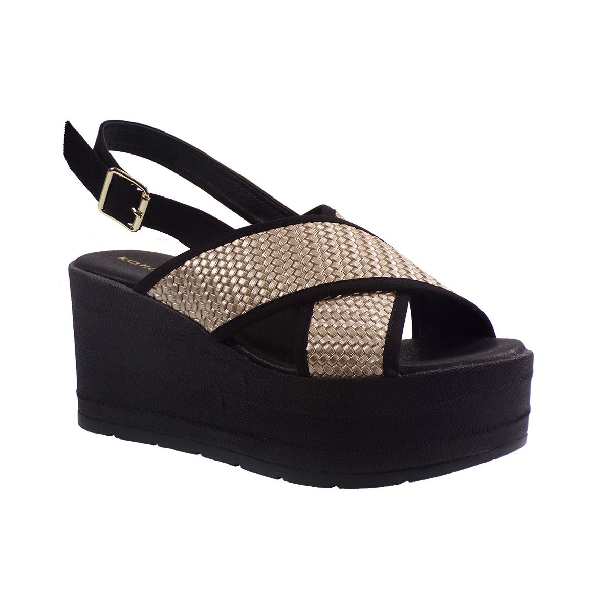 Katia Shoes Γυναικείες Πλατφόρμες Πέδιλα 137 Πλατίνα