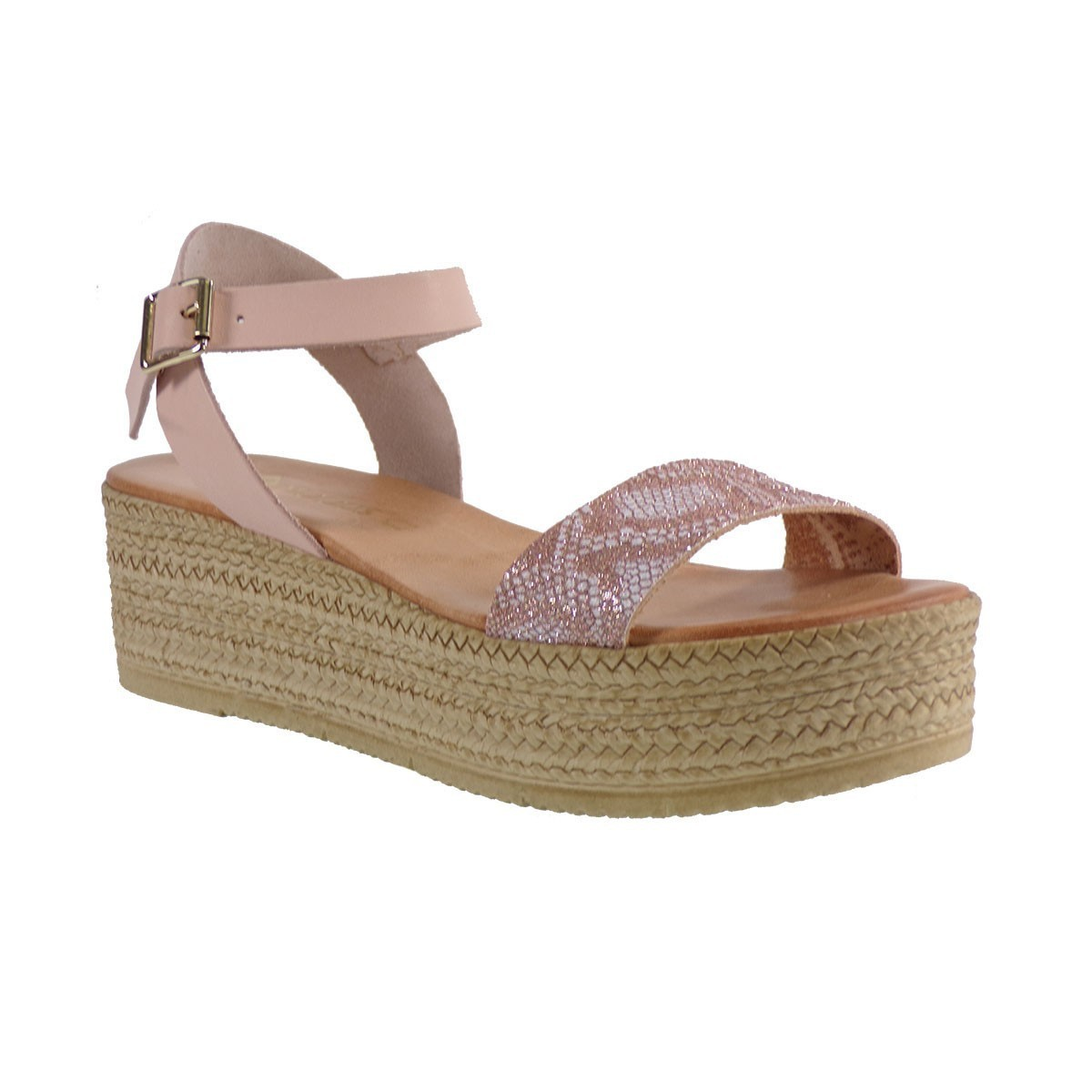 89558137a5d Moods Shoes Γυναικείες Πλατφόρμες Πέδιλα 13111 Λ.Χακλός Φίδι-Ρόζ Δέρμα