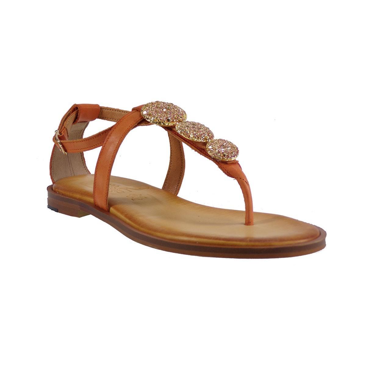 Smart Cronos Γυναικεία Παπούτσια Πέδιλα 6894-1991 Πορτοκαλί Δέρμα
