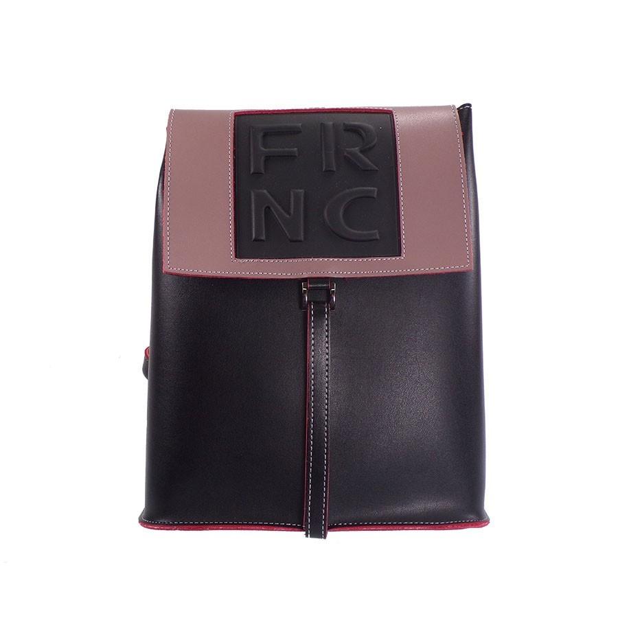 FRNC FRANCESCO Τσάντα Γυναικεία Πλάτης-Backpack 1025 Μαύρο-Ροζ Δέρμα ... c0505ac18f3