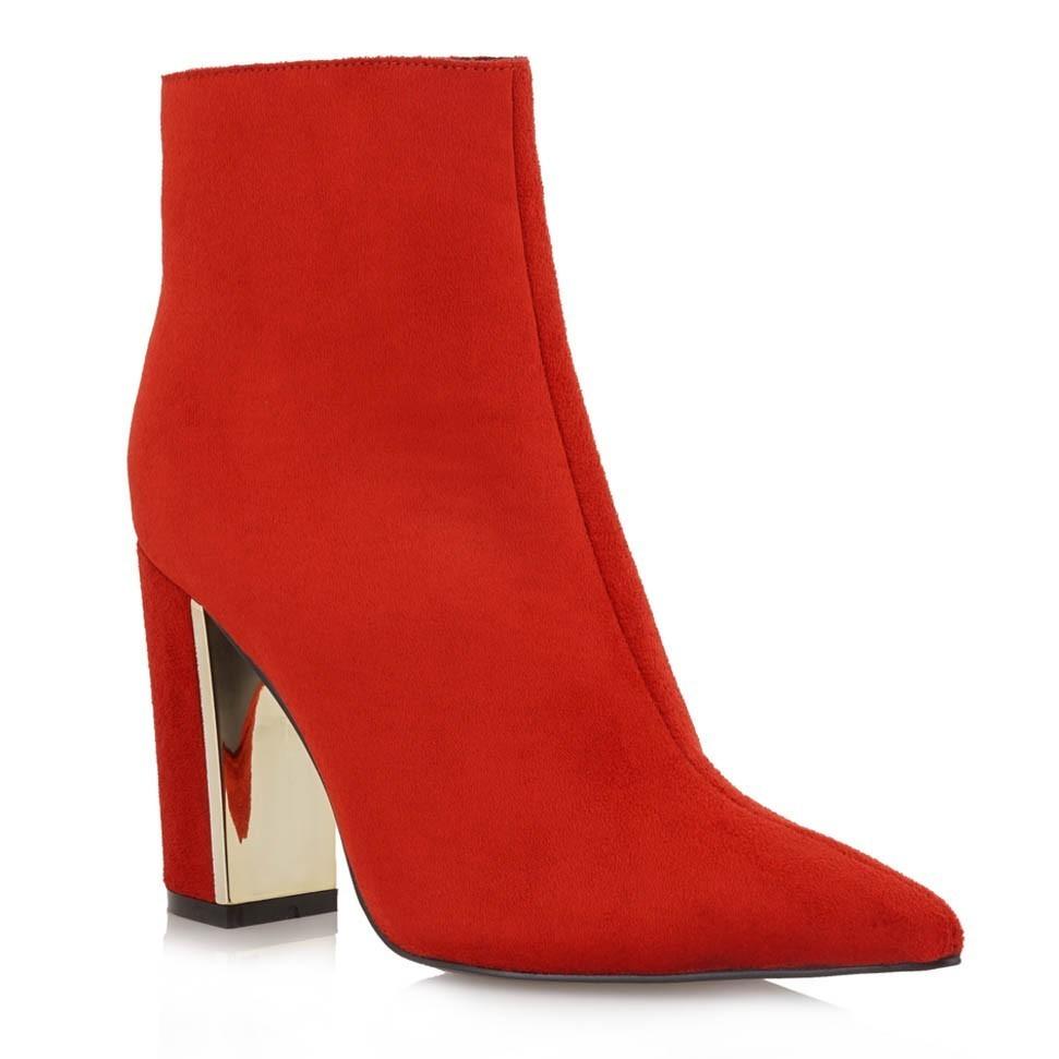 Exe Shoes Γυναικεία Παπούτσια Μποτάκια PATRICIA-910 Κόκκινο Καστόρι ... 97e0d638e37