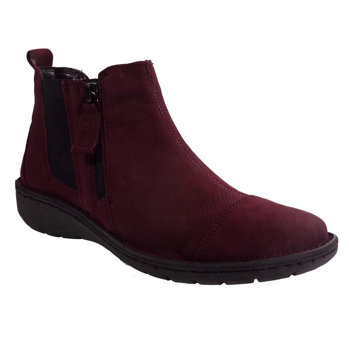 Relaxshoes Γυναικεία Παπούτσια Μποτάκια 86821610-37573 Μπορντώ Δέρμα