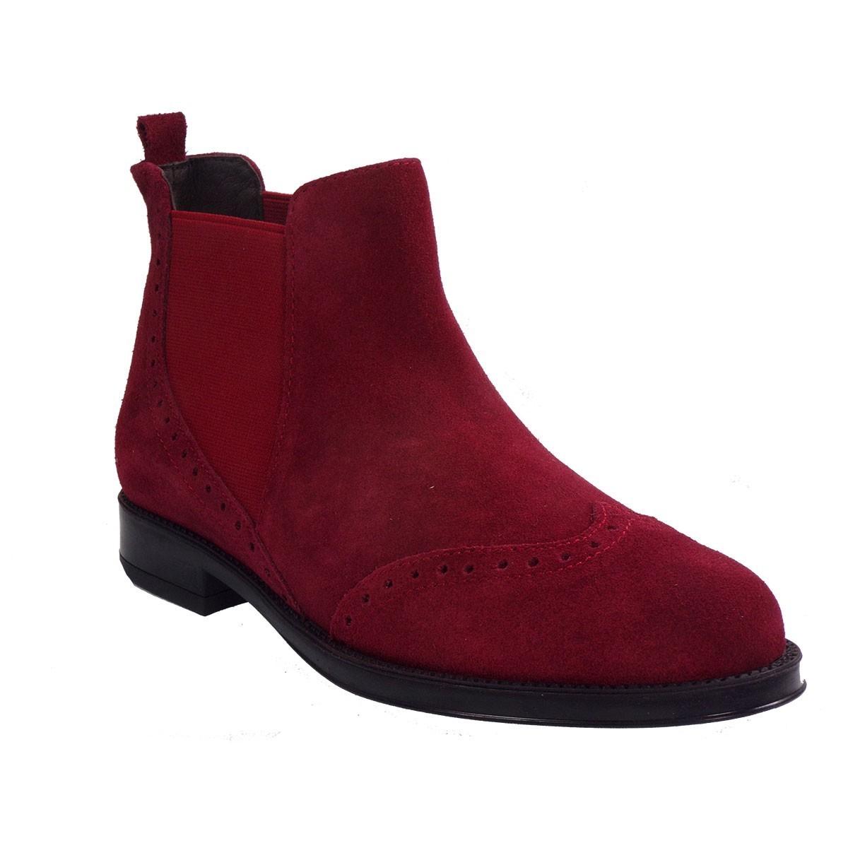 VEROSOFT Γυναικεία Παπούτσια Μποτάκια Αστραγάλου PUSH D BYTTON 868280929 Μπορντώ Δέρμα