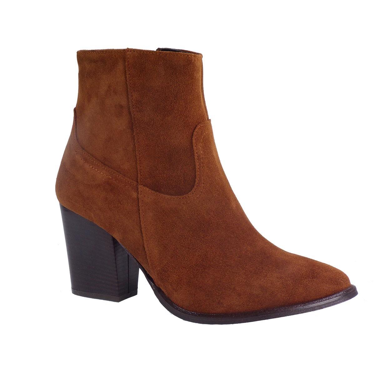 Moods Shoes Γυναικεία Μποτάκια 4010 Ταμπά Καστόρι Δέρμα