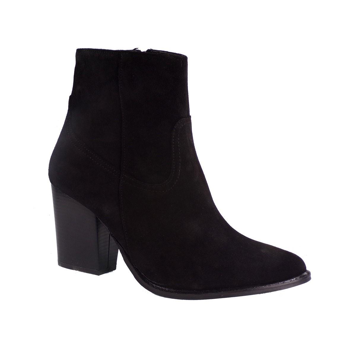 Moods Shoes Γυναικεία Μποτάκια 4010 Μαύρο Καστόρι Δέρμα