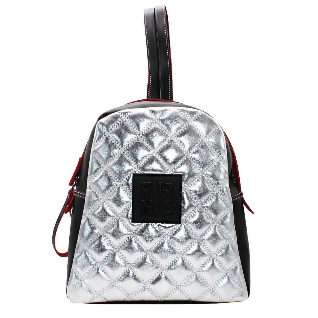 17201ef75f FRNC FRANCESCO Τσάντα Γυναικεία Πλάτης-Backpack 1202 Μαύρο-Ασημί ...