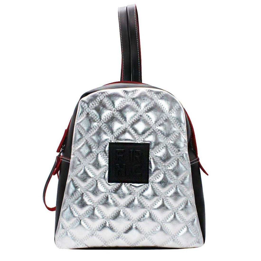 3c790f92c9 FRNC FRANCESCO Τσάντα Γυναικεία Πλάτης-Backpack 1202 Μαύρο-Ασημί ...
