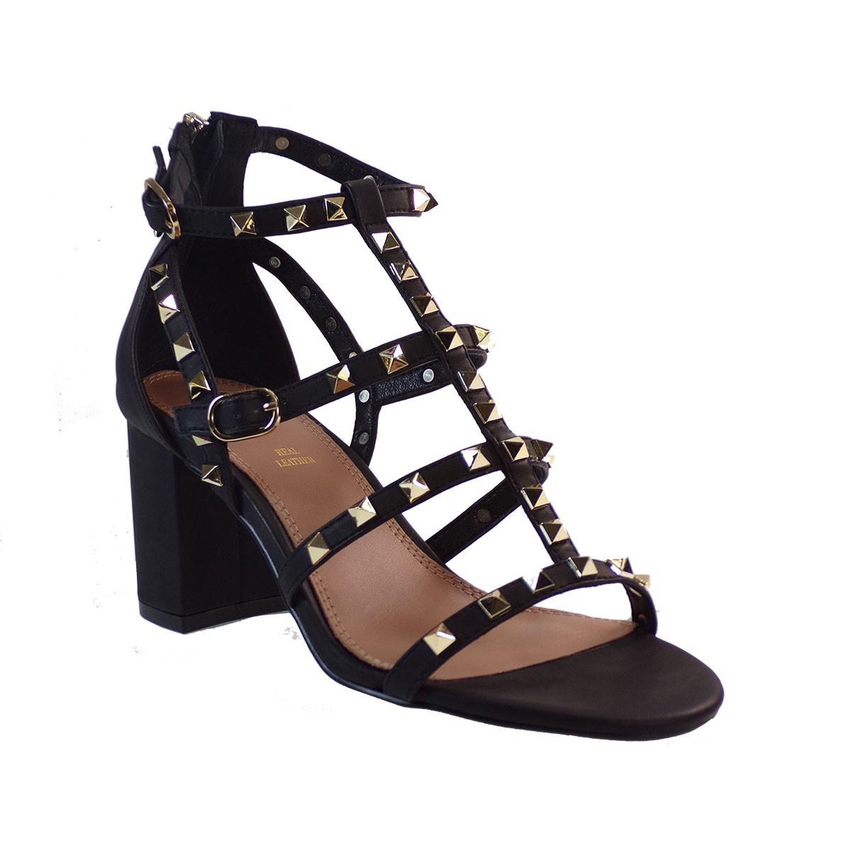 EXE Shoes Πέδιλα Γυναικεία ADELE-487 Μαύρο-Χρυσό Ι4700487400