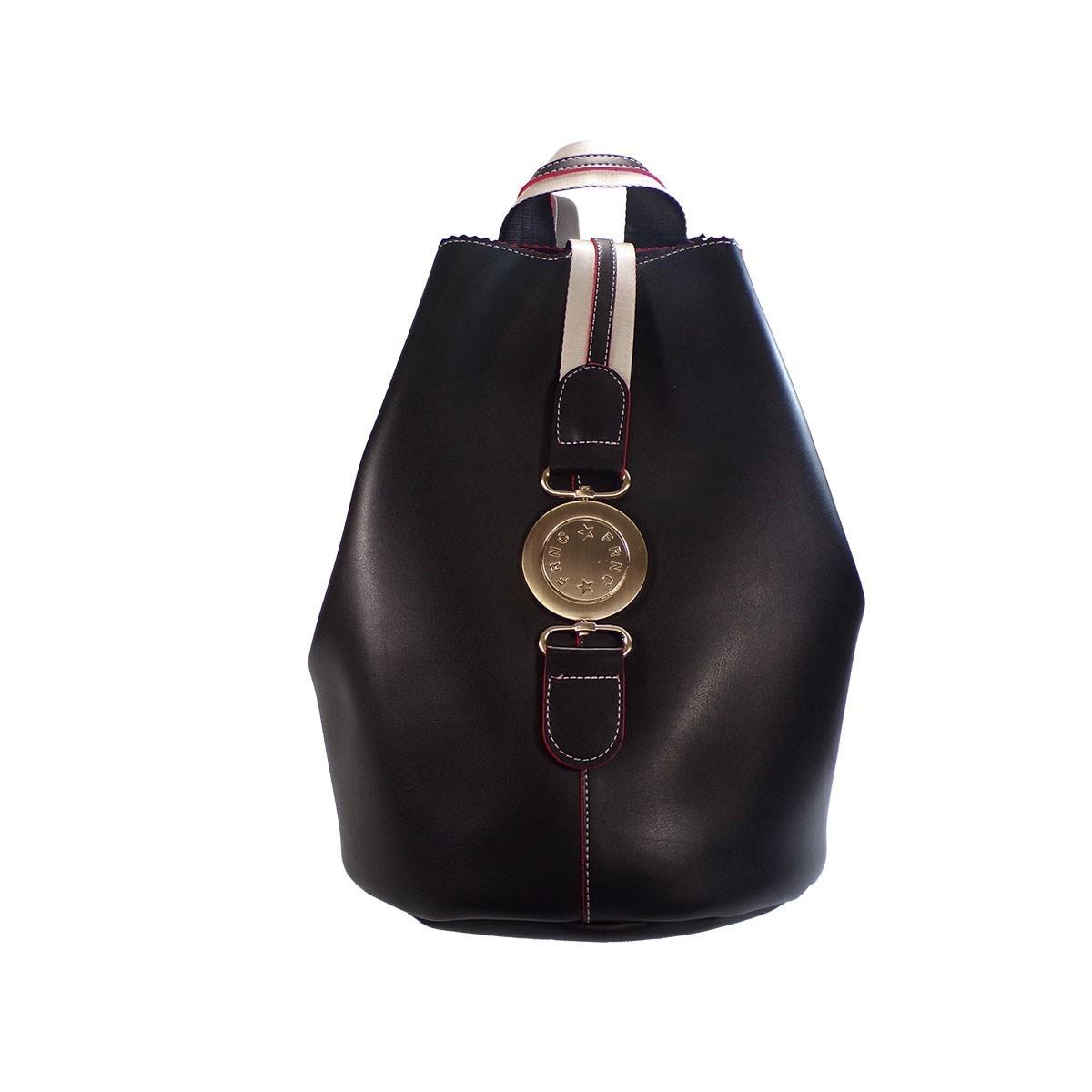 43f8e318c7 FRNC FRANCESCO Τσάντα Γυναικεία Πλάτης-Backpack 563 Μαύρο Δέρμα ...