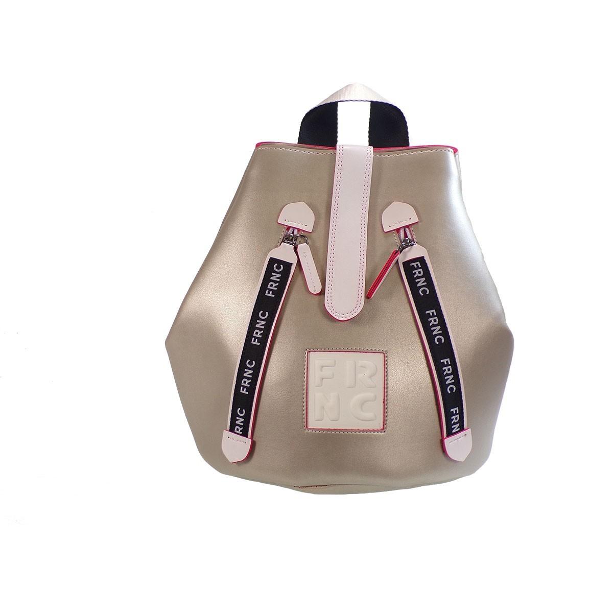 3ab3271d11 FRNC FRANCESCO Τσάντα Γυναικεία Πλάτης-Backpack 1240 Πλατίνα Δέρμα ...