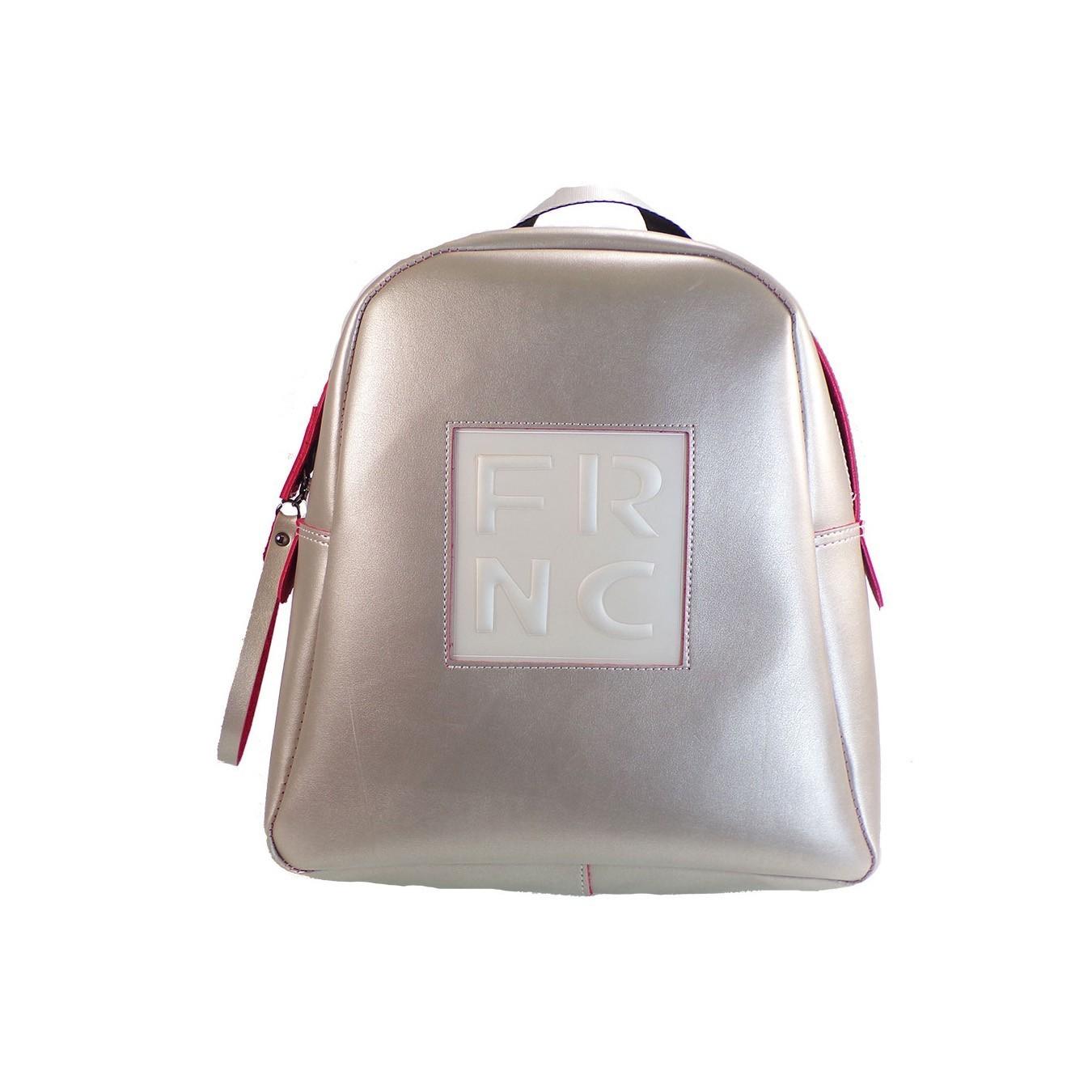 e36b0b4668 FRNC FRANCESCO Τσάντα Γυναικεία Πλάτης-Backpack 1201 Πλατίνα Δέρμα ...