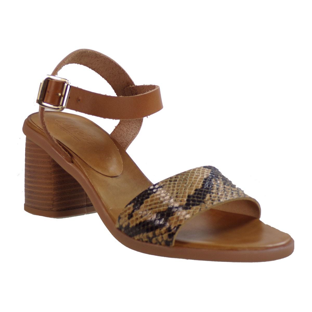 Katia Shoes Anneto Γυναικεία Πέδιλα Κ82-3722 Ταμπά Φίδι Δέρμα