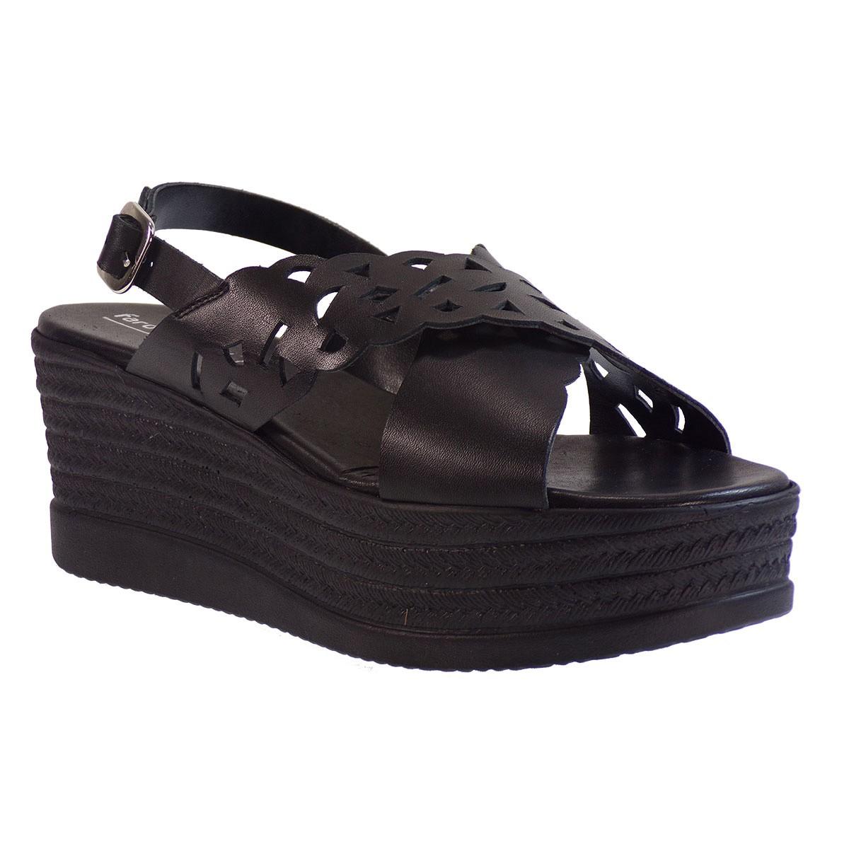 Fardoulis shoes Γυναικείες Πλατφόρμες Πέδιλα 64440 Μαύρο Δέρμα