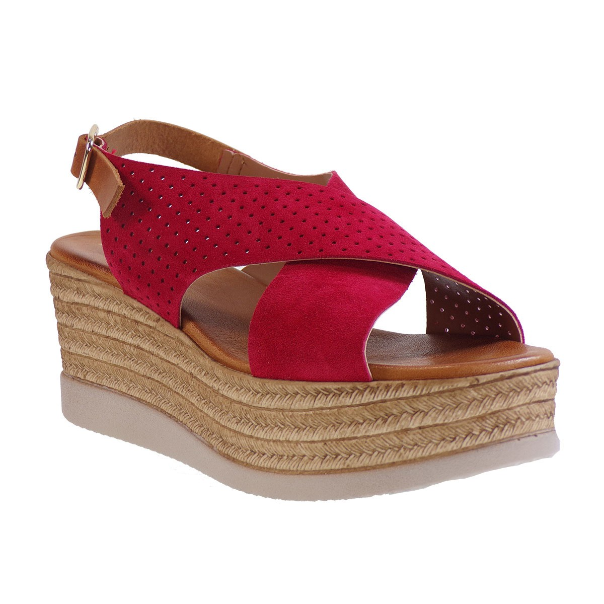 Fardoulis shoes Γυναικείες Πλατφόρμες Πέδιλα 64420 Κόκκινο Καστόρι