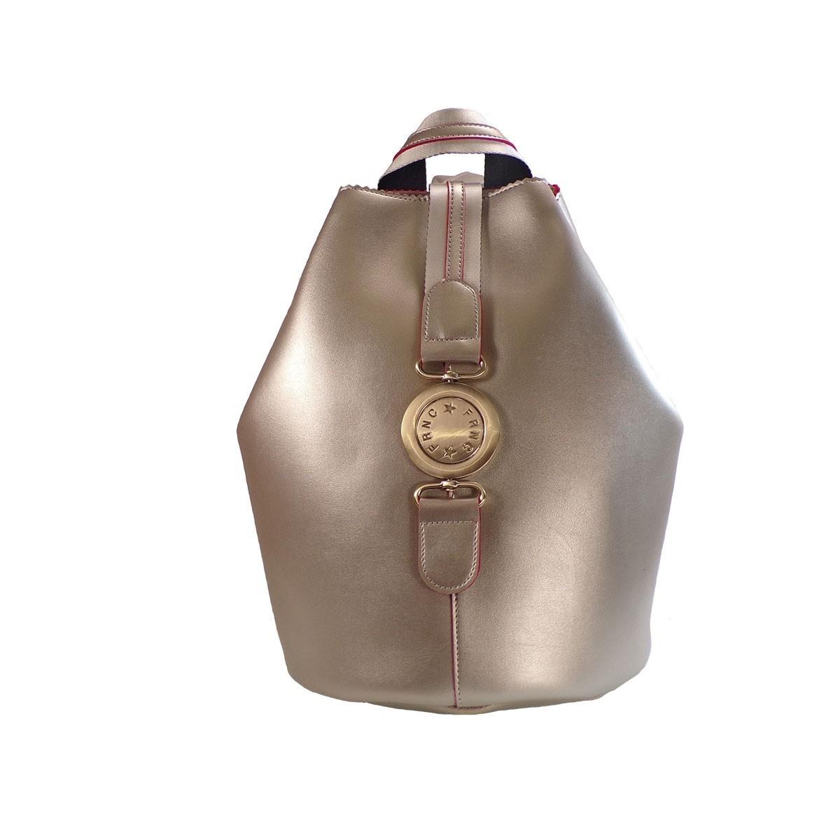 7606798e3c FRNC FRANCESCO Τσάντα Γυναικεία Πλάτης-Backpack 563 Πλατίνα Δέρμα ...