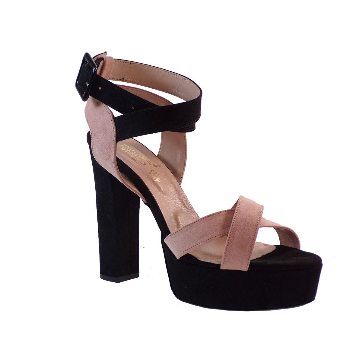 Smart Cronos Γυναικεία Παπούτσια Πέδιλα 7047-3597 Μαύρο-Πούδρα Καστόρι Δέρμα