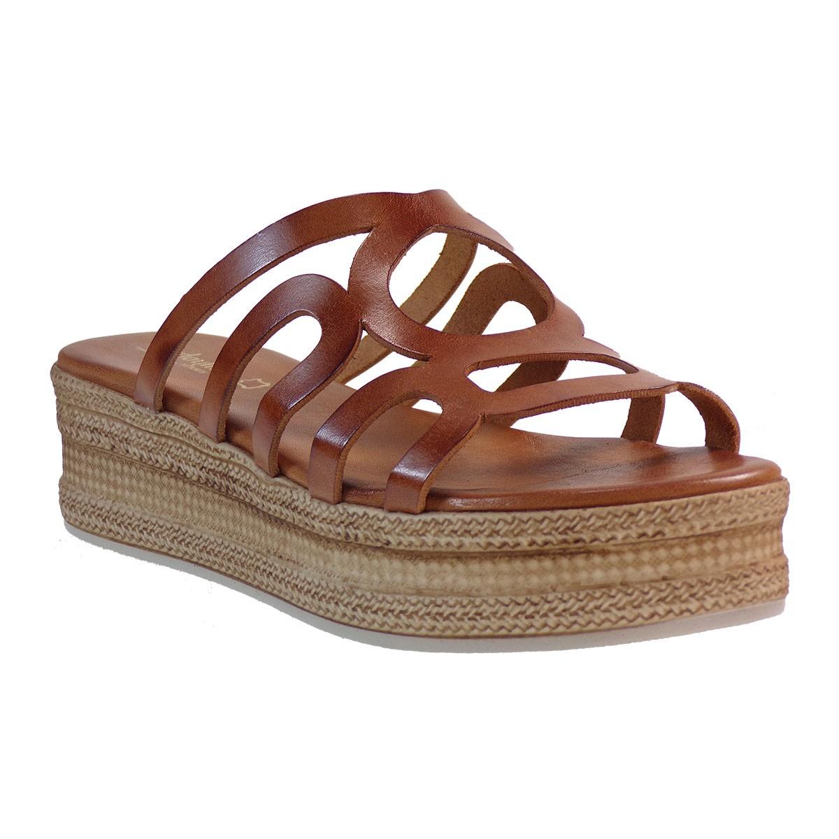 Fardoulis shoes Γυναικείες Πλατφόρμες Παντόφλες 63439 Ταμπά Δέρμα