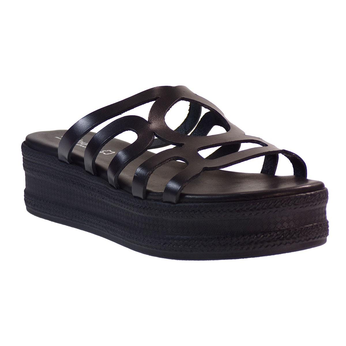Fardoulis shoes Γυναικείες Πλατφόρμες Παντόφλες 63439 Μαύρο Δέρμα