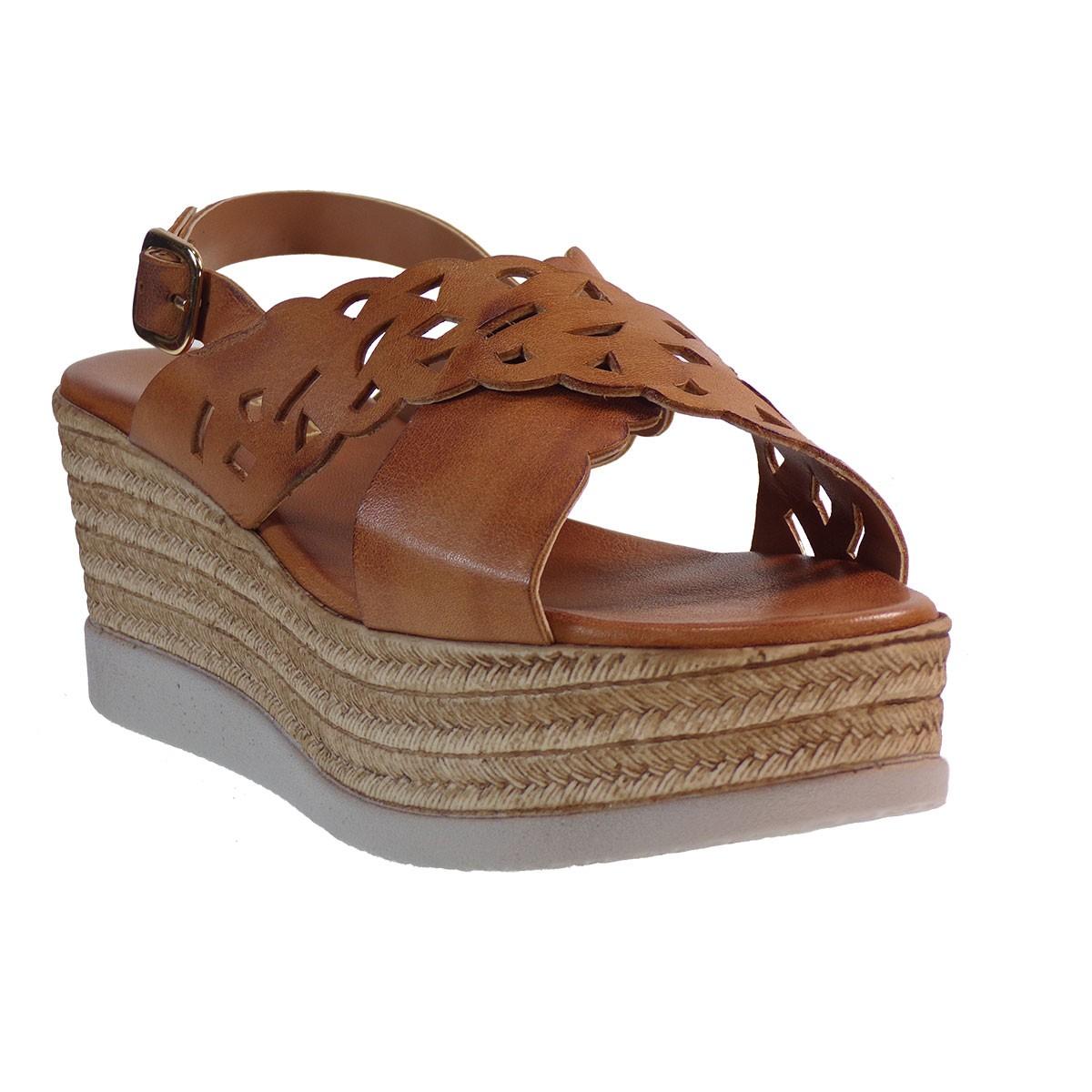 Fardoulis shoes Γυναικείες Πλατφόρμες Πέδιλα 64440 Ταμπά Δέρμα