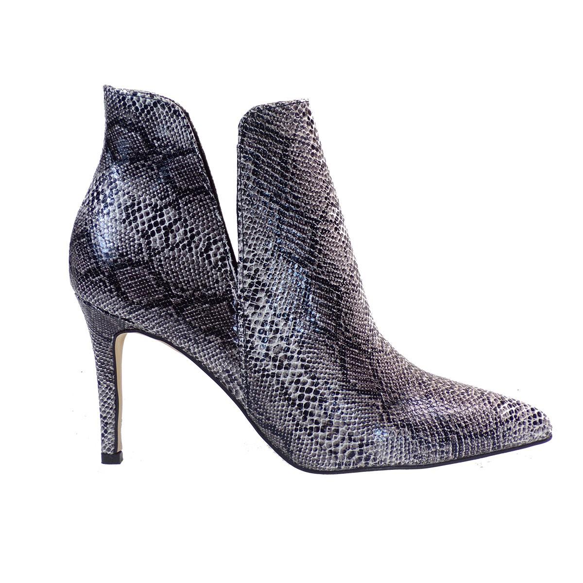 Alessandra Paggioti Γυναικεία Παπούτσια Μποτάκια 81640 Άσπρο-Μαύρο Φίδι