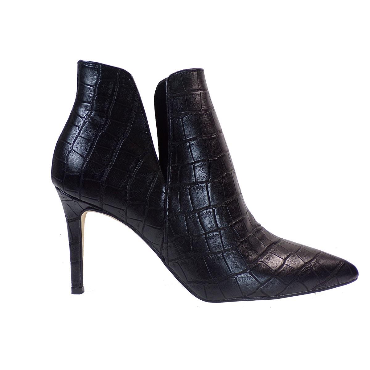 Alessandra Paggioti Γυναικεία Παπούτσια Μποτάκια 81640 Mαύρο Κροκό