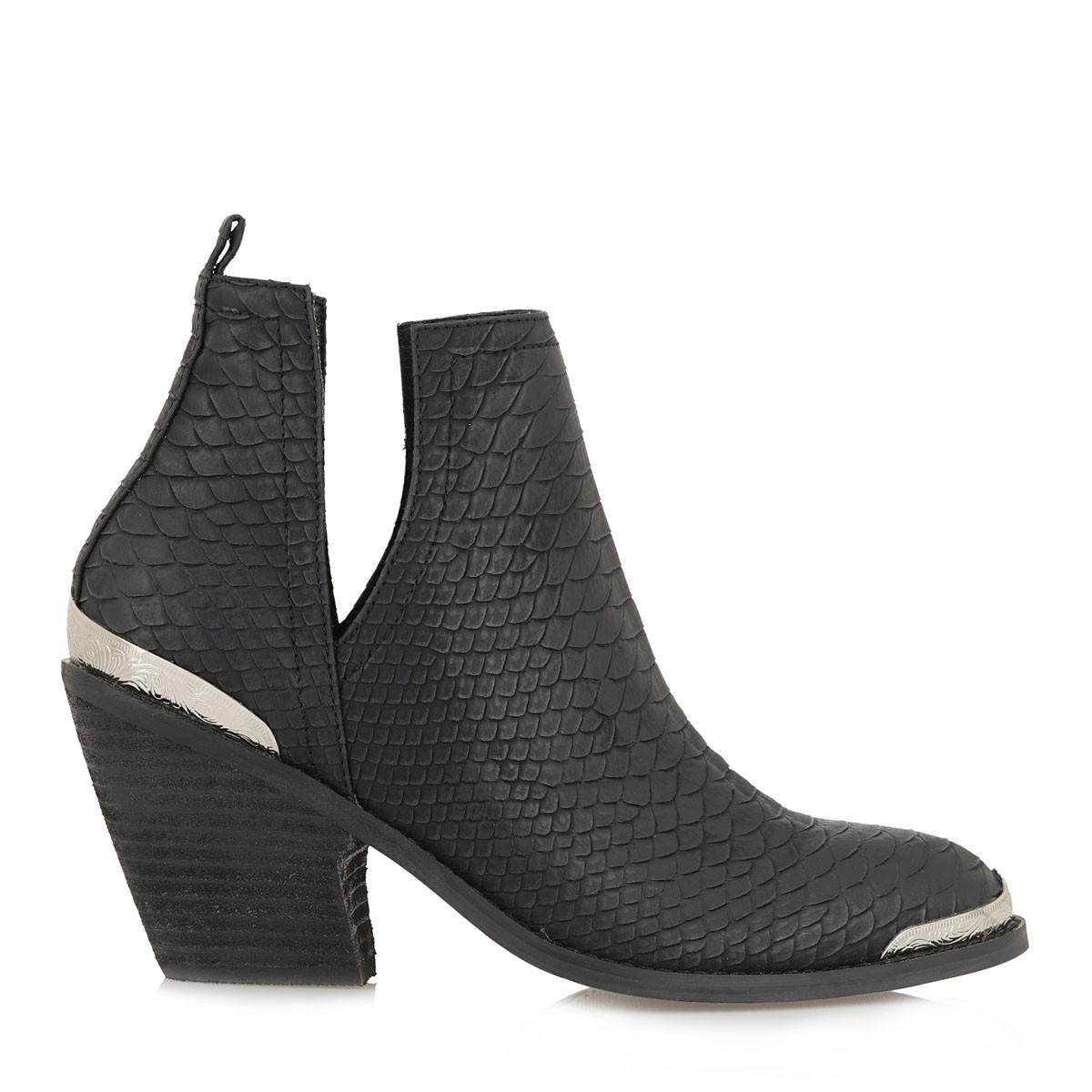 Exe Shoes Γυναικεία Μποτάκια WEST-588 Μαύρο Anaconta J37005885J26
