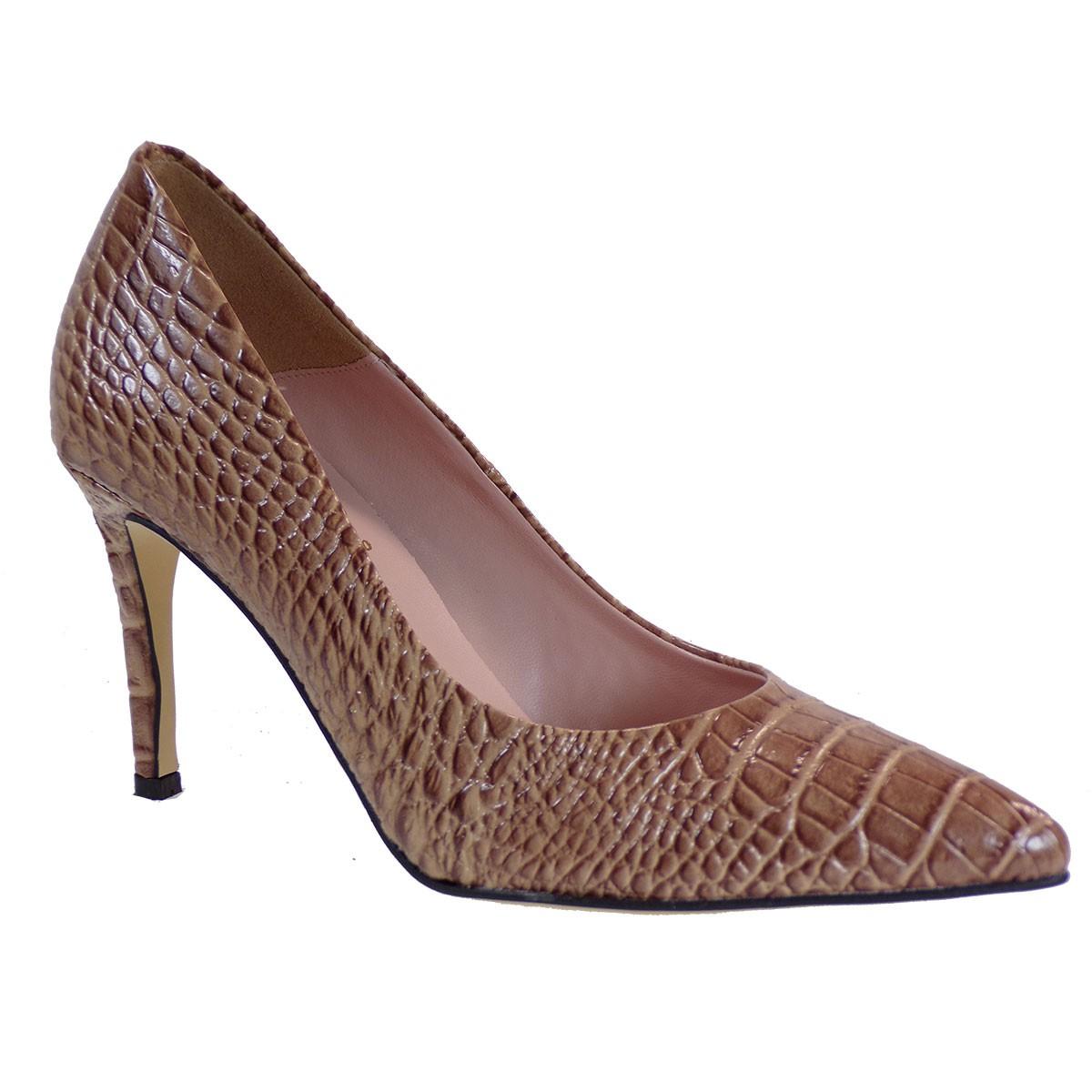 Alessandra Paggioti Γυναικεία Παπούτσια Γόβες 81001 Νude Σκ. Κροκό