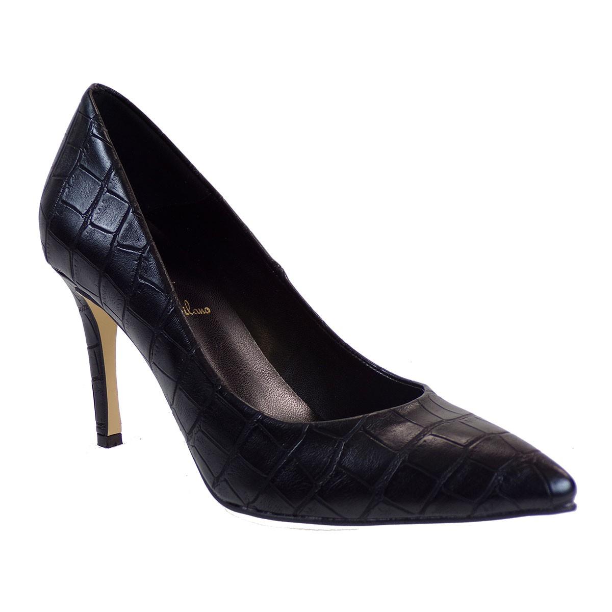 Alessandra Paggioti Γυναικεία Παπούτσια Γόβες 81001 Μαύρο Κροκό